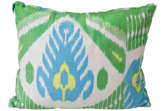 Blue and Green Silk Ikat Pillow