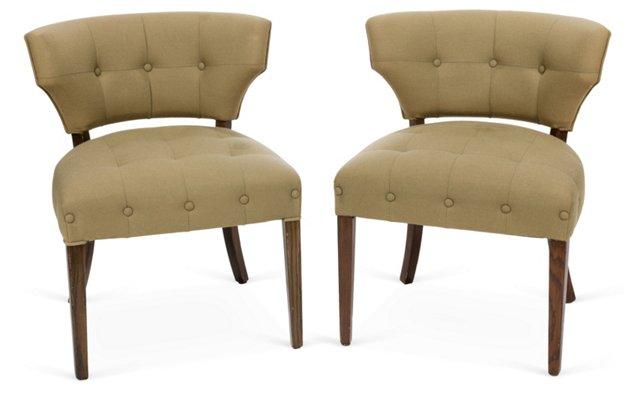 Khaki Wool Chairs, Pair