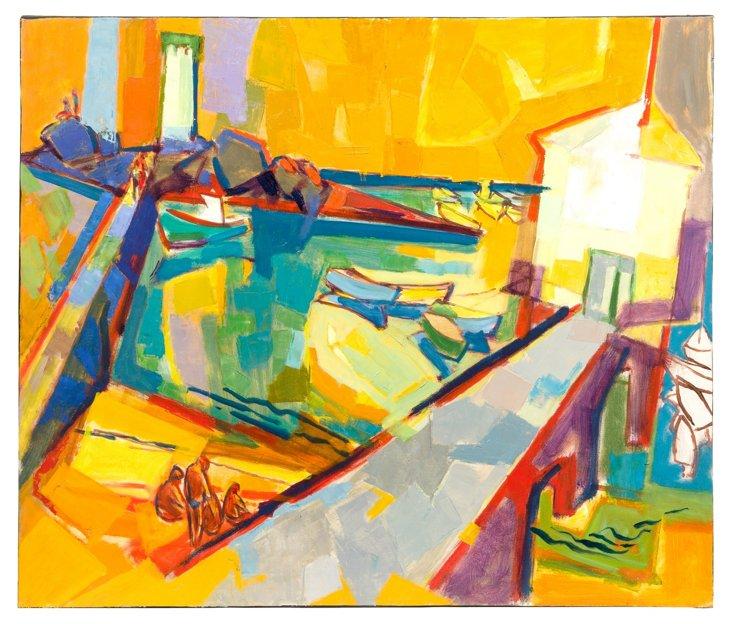H. Kornfeld 'The Harbor' Oil Painting