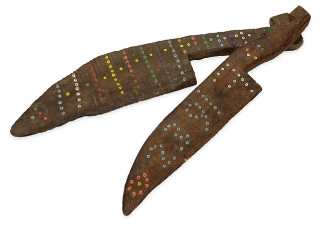 Turkish Wooden Decorative Knives, Pair