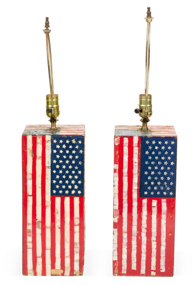 Vintage American Flag Lamps, Set of 2