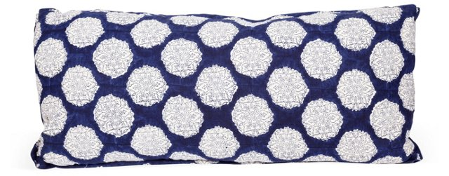 Blue & White Cotton Patterned Pillow