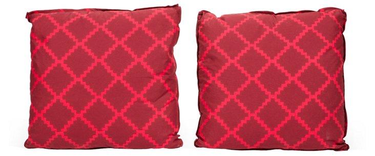 Lulu DK Red Lattice Pillows, Pair