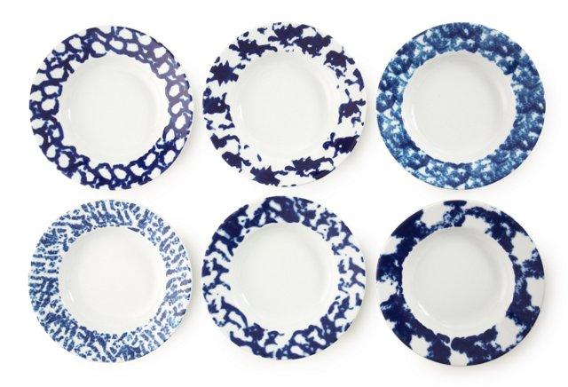 S/6 Assorted Porcelain Sponged Bowls