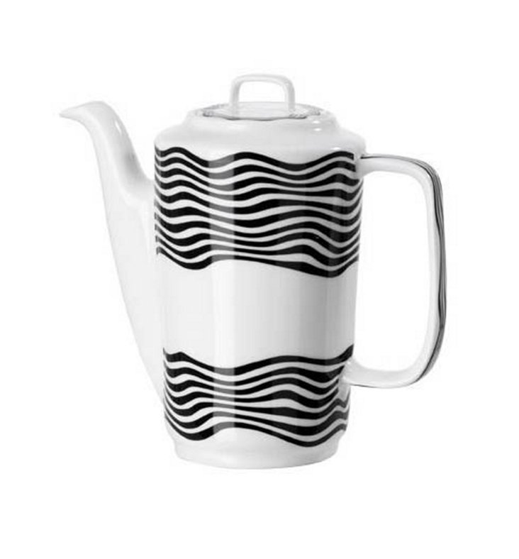 Coffee Pot w/ Cover, Black/White