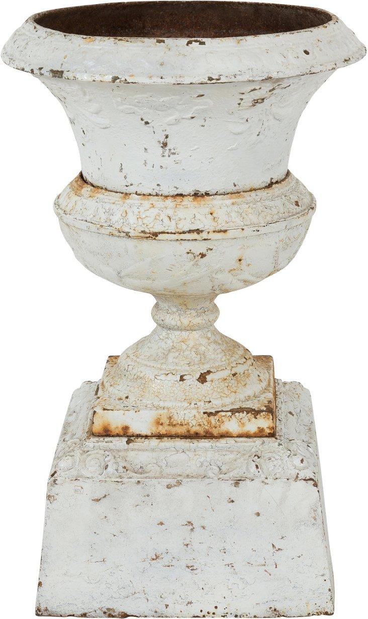 Vintage White Cast-Iron Urn