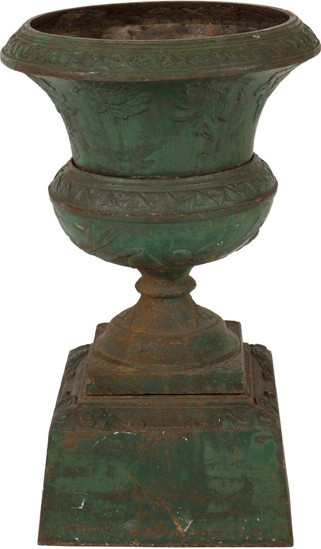 Green Cast-Iron Urn