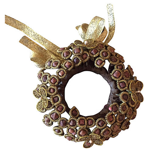 S/2 Clove Napkin Ring, Gold