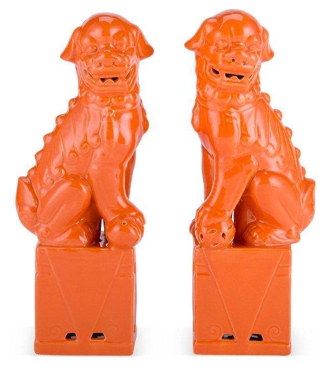 """13"""" Sitting Foo Dog Set, Orange"""