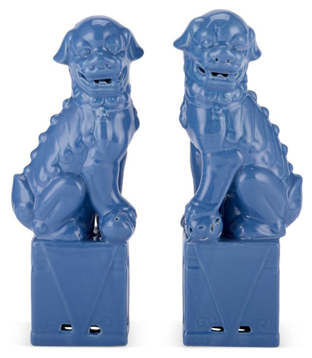 Asst. of 2  Sitting Foo Dogs, Blue