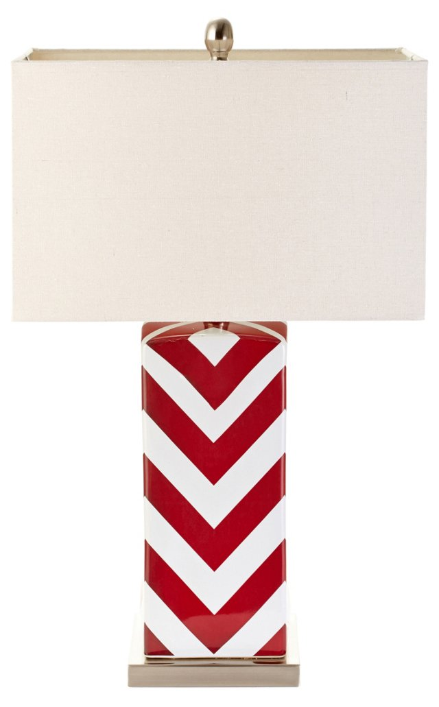 Chevron Table Lamp, Red
