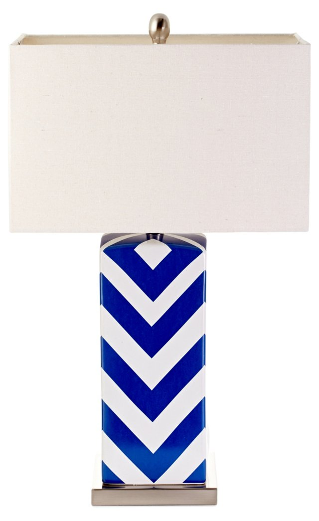 Chevron Table Lamp, Cobalt