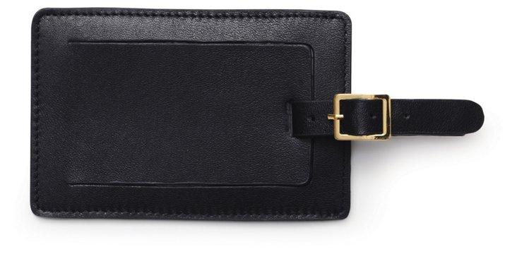Leather Luggage Tag, Black