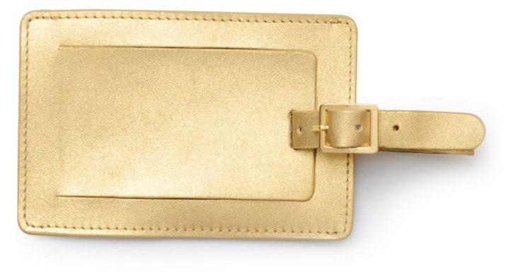 Leather Luggage Tag, Gold