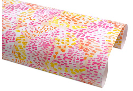 S/6 Rio Sheet Wrap on Roll, Pink/Yellow
