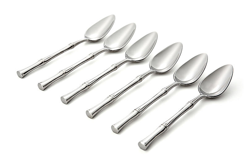 S/6 Bamboo Grapefruit Spoons, Silver