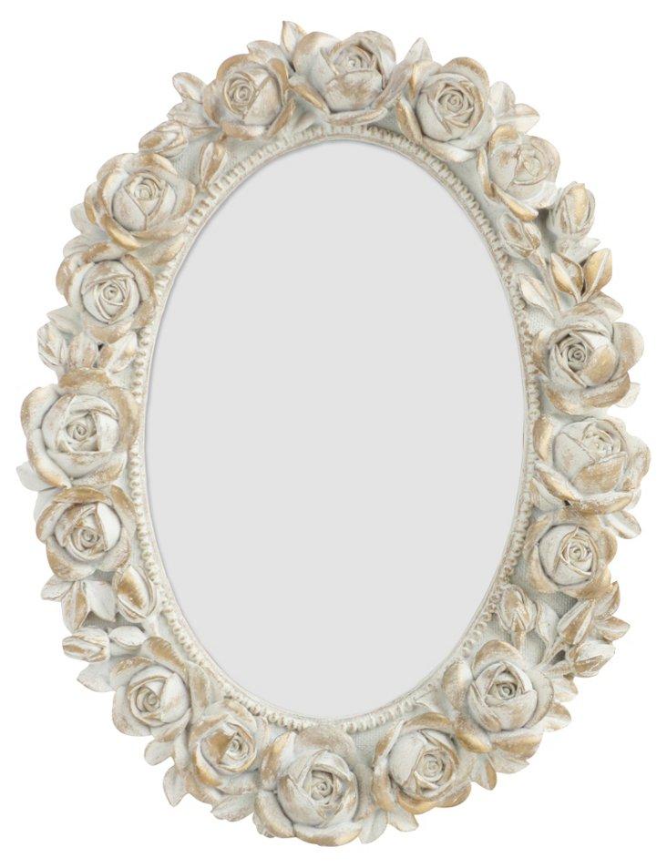 Oval Rose Frame, 4x6, White