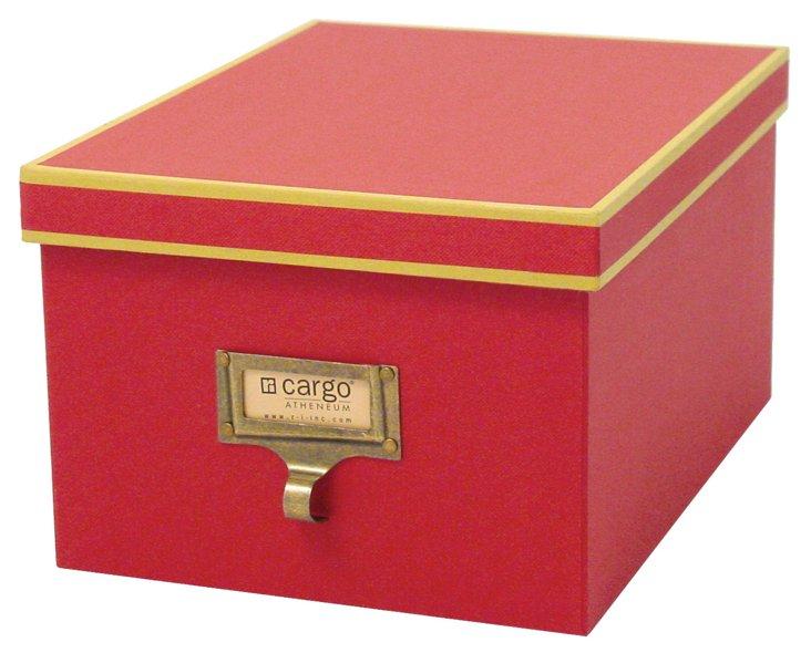 S/2 Atheneum Media/Photo Boxes, Red