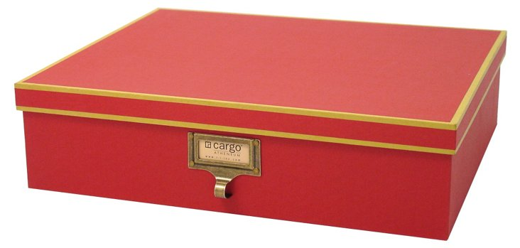 S/2 Cargo Atheneum Document Boxes, Red