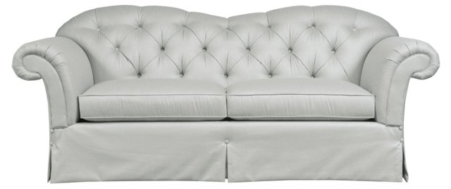 "New Verona 84"" Tufted Sofa, Light Gray"