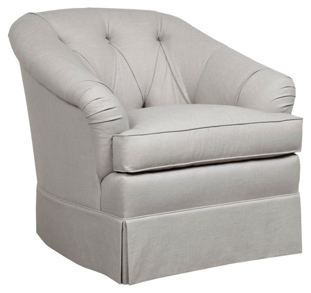 Tuscany Tufted Barrel Chair, Light Gray
