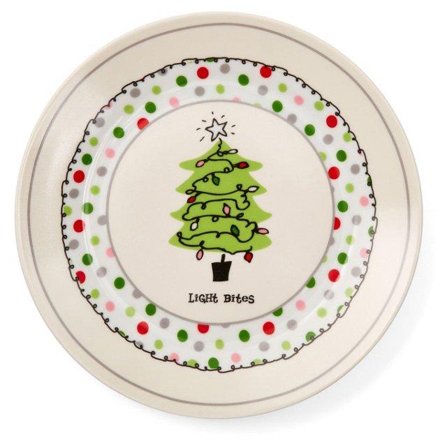 "S/4 ""Lite Bites"" Porcelain Plates w/ Box"