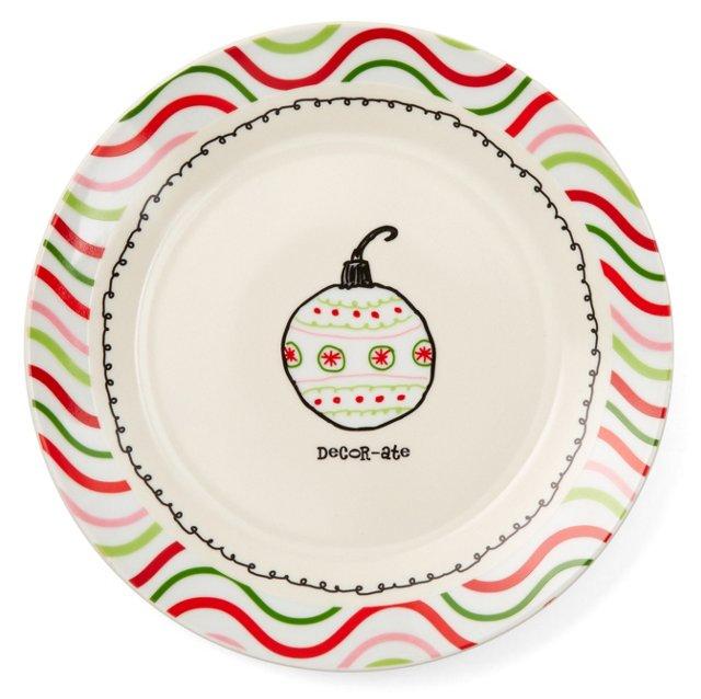 """S/4 """"Decor-ate"""" Porcelain Plates w/ Box"""