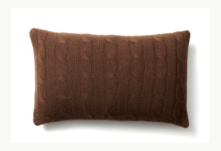 Cashmere Cable Travel Pillow, Chocolate