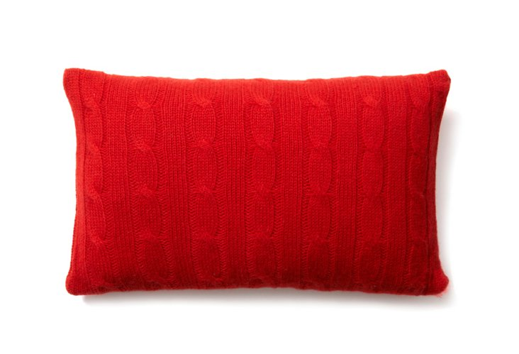 Cashmere Cable Travel Pillow, Red