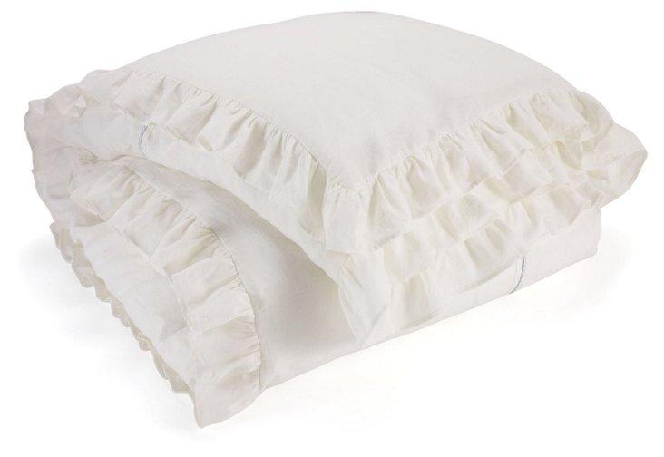 Keigh Linen Tape Duvet Cover, Ivory