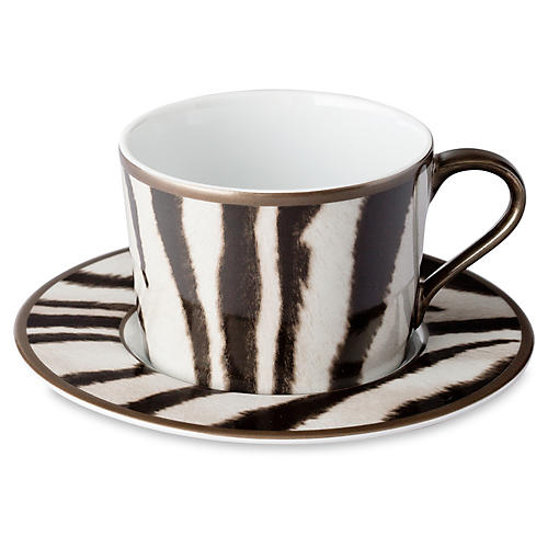 Kendall Teacup & Saucer, Brown/Black