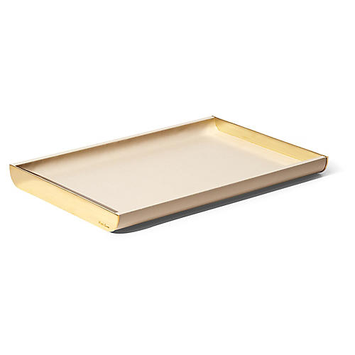 "15"" Joana Large Tray, Cream/Gold"