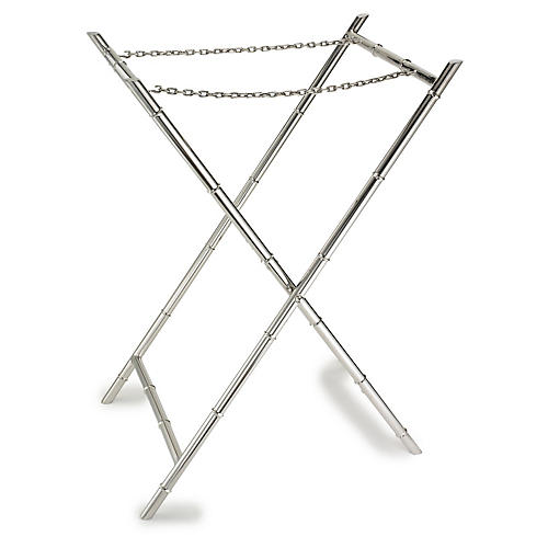 Edmond Bamboo Tray Stand, Silver