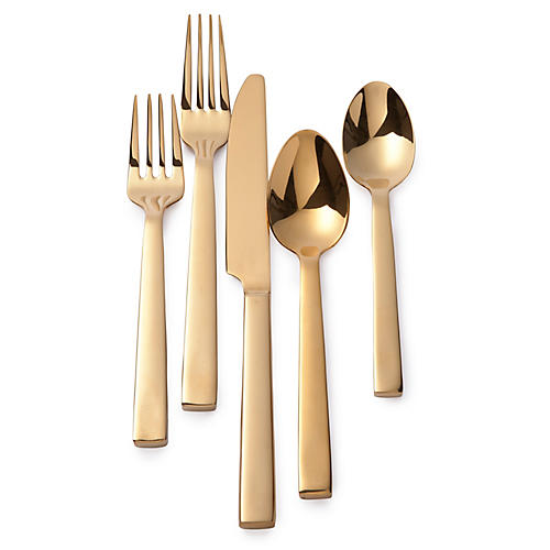 5-Pc Academy Flatware Set, Gold