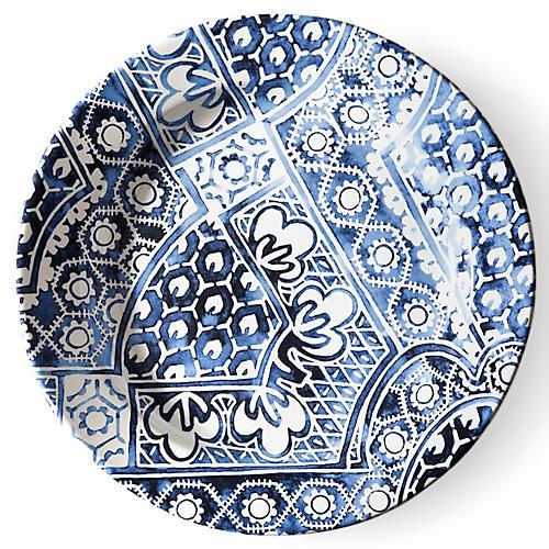 Cote D'Azur Batik Dinner Plate, Navy/White