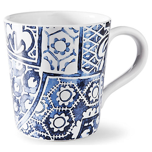 Cote D'Azur Batik Mug, Navy/White