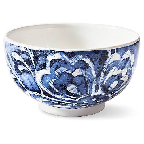 Cote D'Azur Floral Cereal Bowl, Navy/White