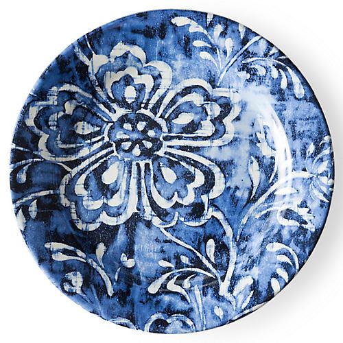 Cote D'Azur Floral Salad Plate, Navy/White