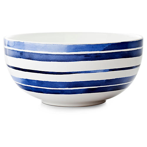 Cote D'Azur Stripe Serving Bowl, Navy/White