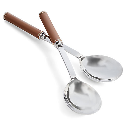 S/2 Wyatt Salad Servers, Silver/Saddle Brown