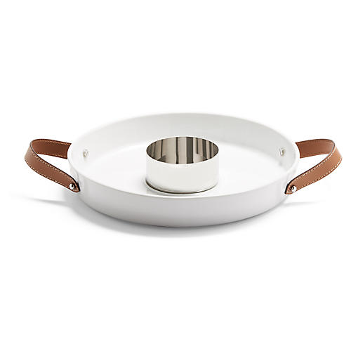 Wyatt w/ Bowl Tray, White/Saddle Brown