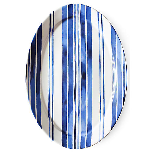 Cote D'Azur Stripe Oval Serving Platter, Navy