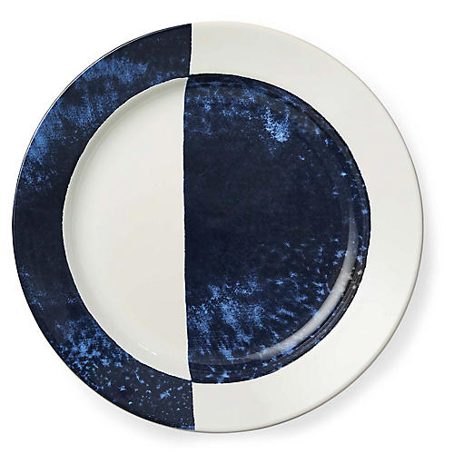 Casey Salad Plate, White/Navy