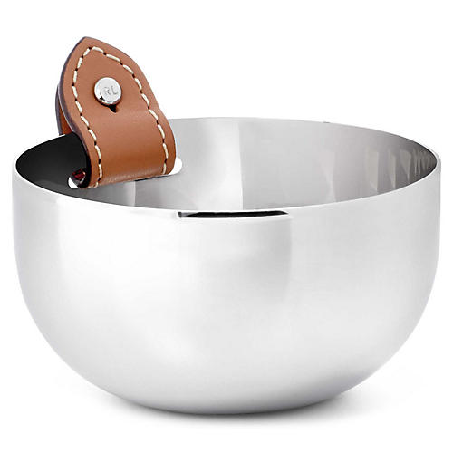 Wyatt Nut Bowl, Silver/Saddle