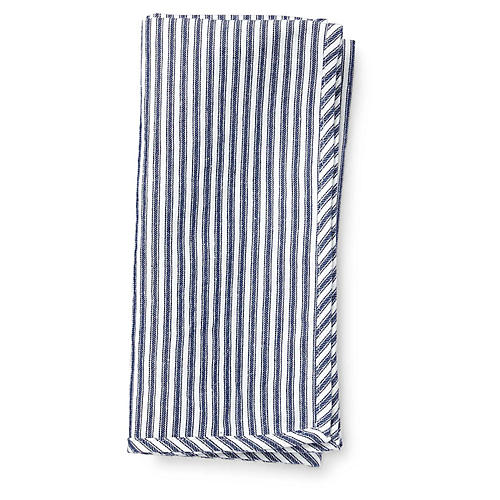 Mercer Dinner Napkin, White/Navy