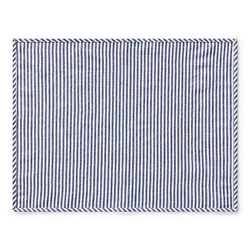Mercer Place Mat, White/Navy