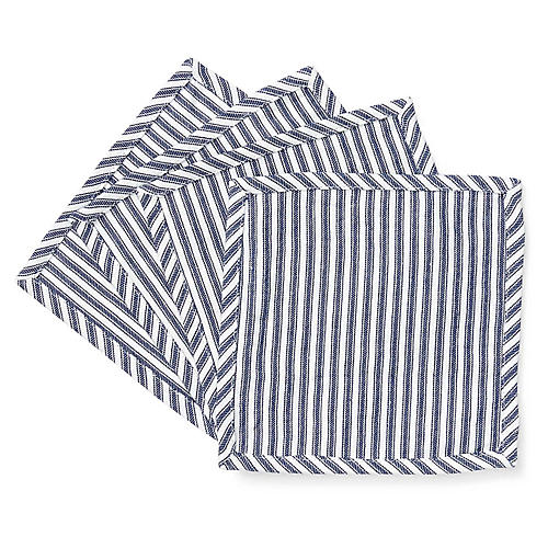 S/4 Mercer Cocktail Napkins, White/Navy