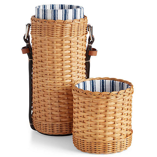Bailey Wine Tote, Saddle/Wicker