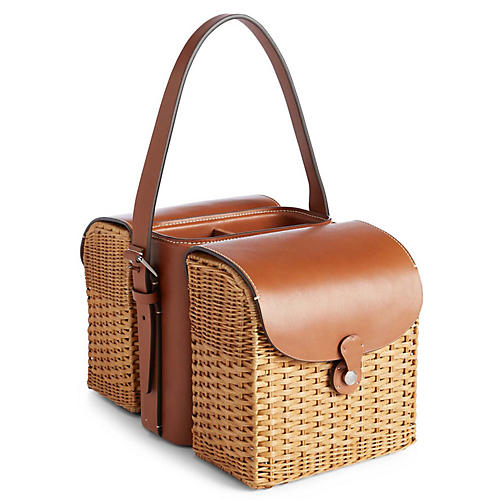 Bailey Wine & Cheese Tote, Saddle/Wicker