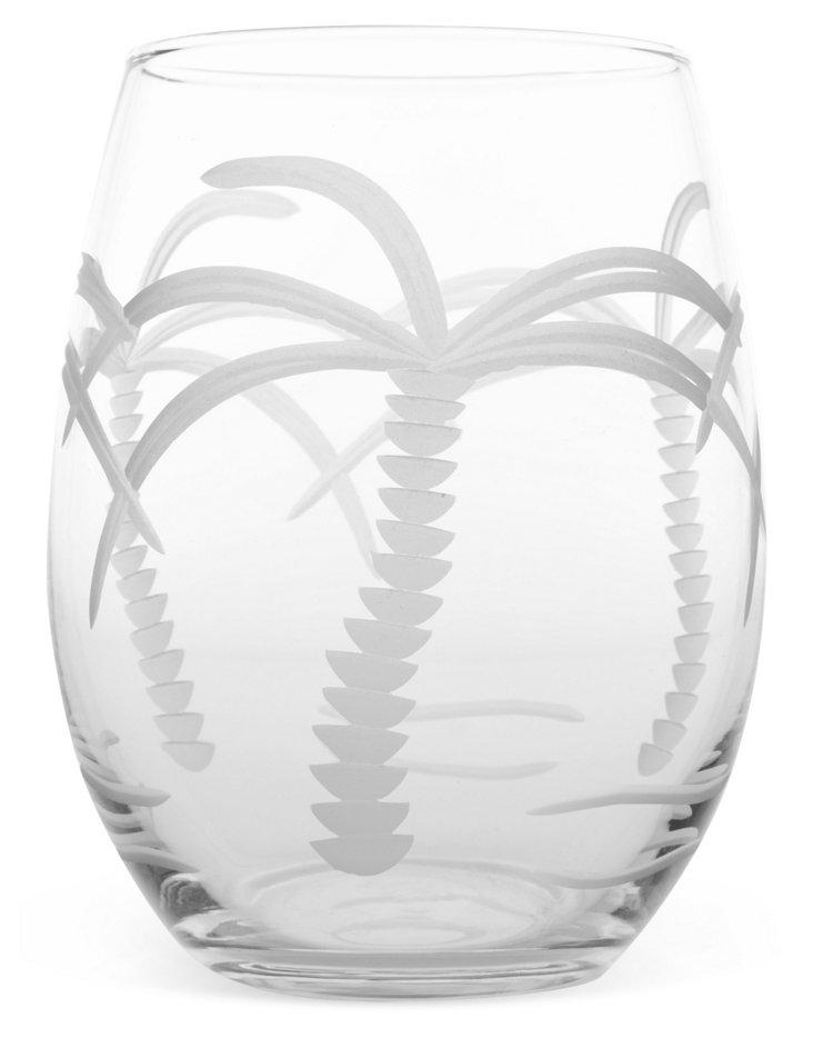 S/4 Palm Tree Stemless Wineglasses